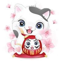 Cute little lucky kitty illustration vector