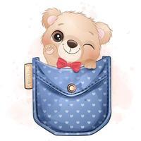 Cute little bear sitting inside pocket illustration vector