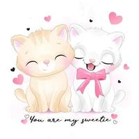 Two cute kitty illustration vector