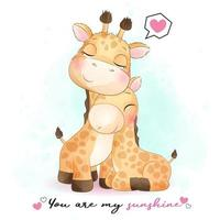Cute giraffe mother and baby illustration vector