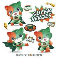 Cute super cat with watercolor illustration vector