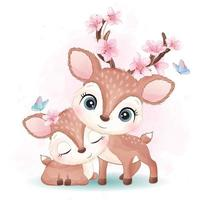Cute little deer mother and baby illustration vector