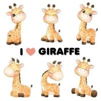 Cute little giraffe poses with watercolor illustration vector