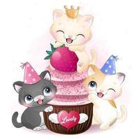 lindo gatito con ilustración de cupcake vector