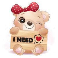 Cute little bear hugging a signboard illustration vector