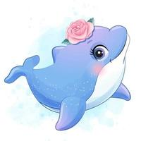 Cute little dolphin with watercolor illustration vector
