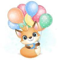 Cute little foxy holding a balloon illustration vector
