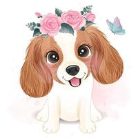 Cute little Cavalier King Charles with floral illustration vector
