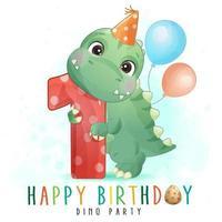 lindo dinosaurio con ilustración de cumpleaños número uno vector