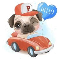 Cute little pug with watercolor illustration
