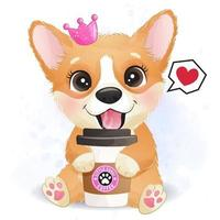 Cute little corgi with a coffee cup vector