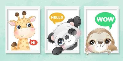 Cute little animal with watercolor effect illustration vector