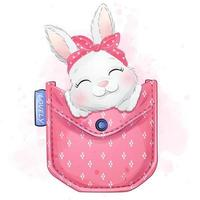 Cute little bunny with watercolor illustration vector