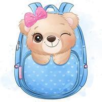 Cute little bear sitting inside bag illustration vector