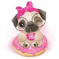 Cute little pug with watercolor illustration vector
