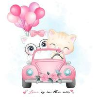 Cute little kitty driving a car with watercolor illustration