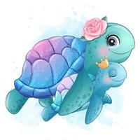Cute little sea turtle mother and baby illustration vector