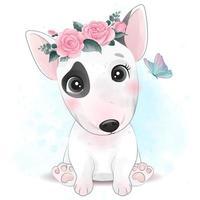 lindo perrito con ilustración floral vector