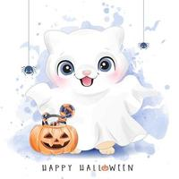 Cute kitty for halloween day with watercolor illustration vector