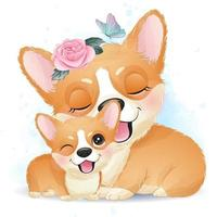 Cute little corgi mother and baby vector