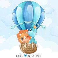 Cute little giraffe and dinosaur flying with air balloon illustration