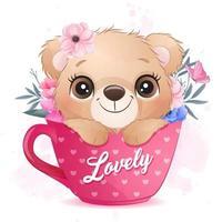 Cute little bear sitting inside cup illustration vector