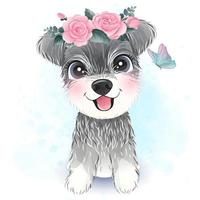 Cute little Schnauzer with floral illustration vector
