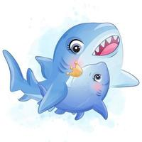 Cute little shark mother and baby illustration vector