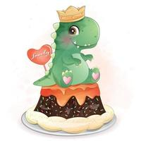Cute dinosaur sitting in the cake illustration vector