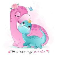 Cute little dinosaur mother and baby with watercolor illustration vector