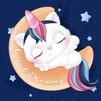 Cute little kitty sleeping in the moon with watercolor illustration vector
