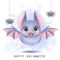 Cute little bat and spider for halloween day with watercolor illustration vector