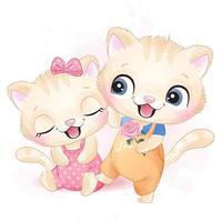 Cute two little kitty illustration vector