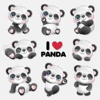 Cute little panda with watercolor collection vector