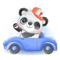Cute little panda with watercolor illustration