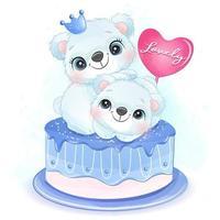 Cute two little polar bear sitting in the cake illustration vector
