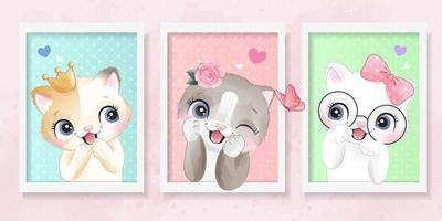 Cute little kittens with watercolor effect illustration vector