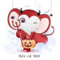 Cute little elephant for halloween day with watercolor illustration vector