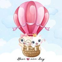 Cute little kitty flying with air balloon illustration vector