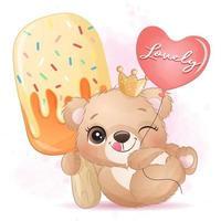 Cute little bear hugging a ice cream illustration vector