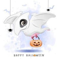 lindo dinosaurio doodle para el día de halloween con ilustración de acuarela vector