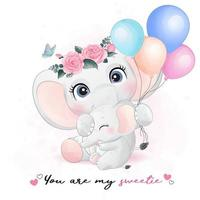 Cute elephant mother and baby illustration vector