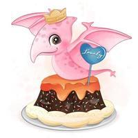 lindo dinosaurio sentado en la ilustración de la torta vector