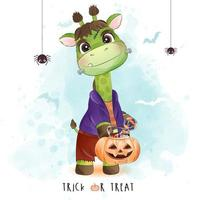 Cute little giraffe for halloween day with watercolor illustration vector