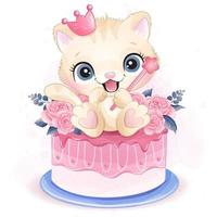 Cute little kitty sitting in the roses cake illustration vector