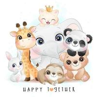 Cute animals with watercolor illustration vector