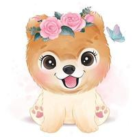 Cute little dog with floral illustration vector