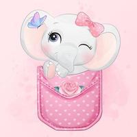 Cute little elephant sitting inside pocket illustration vector