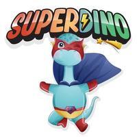 lindo super dinosaurio con ilustración de acuarela vector