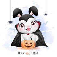 Cute little bunny for halloween day with watercolor illustration vector
